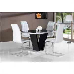 Clara Dining Table In Black Glass Top With 4 White Dining Chairs