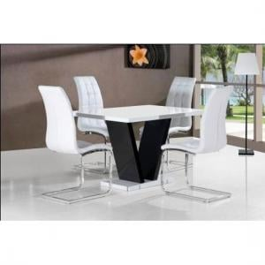 Clara Dining Table In White Gloss With 4 White Dining Chairs