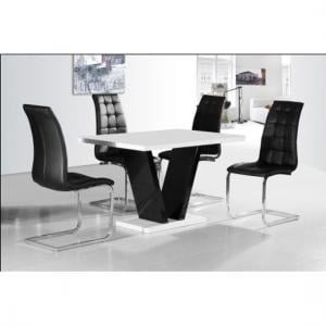 Clara Dining Table In White Gloss With 4 Black Dining Chairs