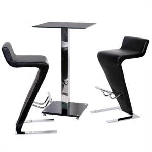 Spice Bar Table In Black Glass With 2 Farello Bar Stool In Black