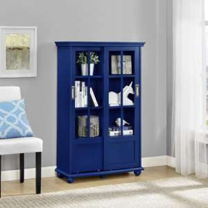 Aaron Lane Bookcase In Blue With Sliding Glass Doors