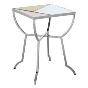 Aarox Multicoloured Glass Square Side Table With Silver Frame