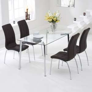 Abbey Glass Dining Table In Clear With 4 Gala Brown Chairs