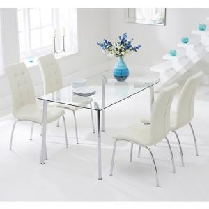 Abbey Glass Dining Table In Clear With 4 Gala Cream Chairs