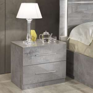 Abby Bedside Cabinet In Grey Marble Effect Gloss And 2 Drawers
