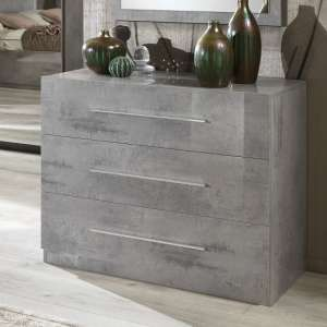 Abby Chest Of Drawers In Grey Marble Effect Gloss And 3 Drawers