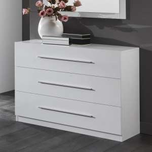 Abby Chest Of Drawers In White High Gloss And 3 Drawers