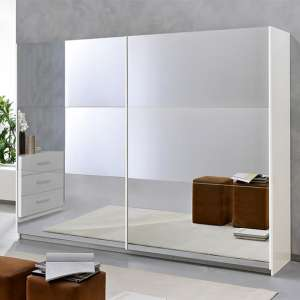 Abby Extra Large 2 Mirrored Doors Wooden Wardrobe In White