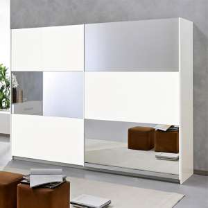 Abby Extra Large Mirrored Sliding Wooden Wardrobe In White