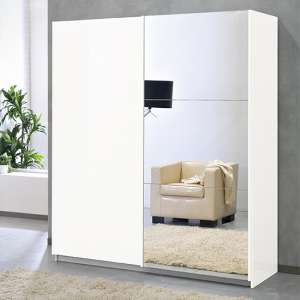 Abby Medium Mirrored Wooden Sliding Wardrobe In White