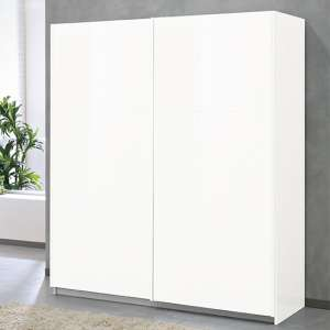 Abby Medium Wooden Sliding Door Wardrobe In White