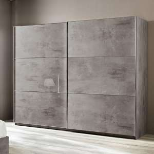 Abby Sliding Large Wardrobe In Grey Marble Effect Gloss