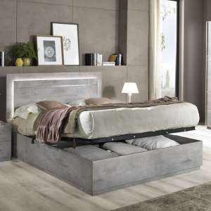 Abby King Size Ottoman Bed In Grey Marble Effect Gloss And Light