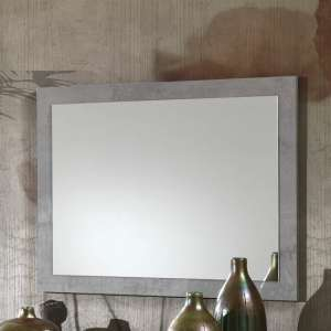 Abby Wall Mirror Rectangular In Grey Marble Effect Gloss