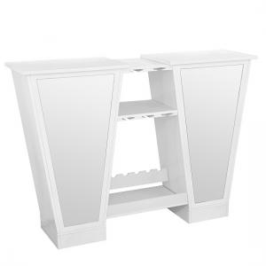 Abena Mirrored Bar Unit In White High Gloss With Glass Tops