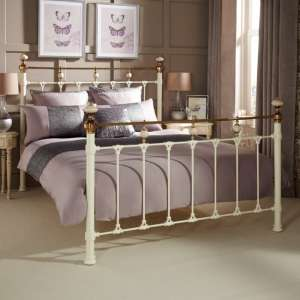 Abigail Precious Metal Double Bed In Ivory and Brass