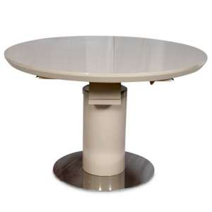 Abramo Extendable Dining Table In Cream High Gloss