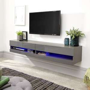 Abril Wall Mounted Large TV Wall Unit In Grey Gloss With LED