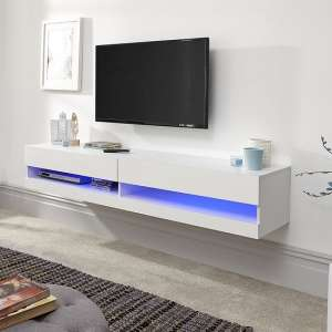 Abril Wall Mounted Medium TV Wall Unit In White Gloss With LED