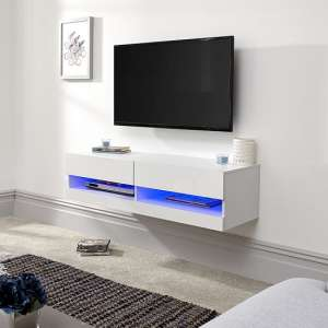 Abril Wall Mounted Small TV Wall Unit In White Gloss With LED