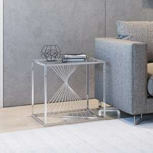 Abrstact Glass Side Table With Polished Stainless Steel Frame
