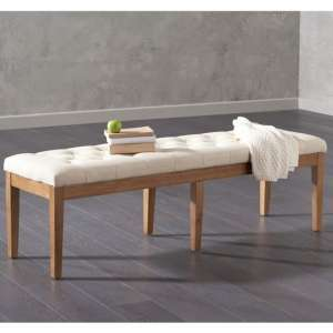 Absolutno Fabric Large Dining Bench In Beige