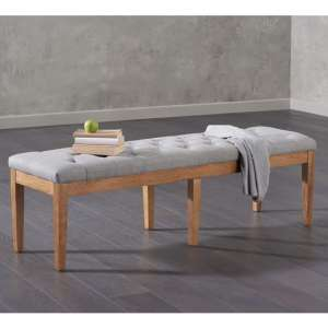 Absolutno Fabric Large Dining Bench In Grey