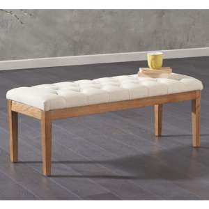 Absolutno Fabric Small Dining Bench In Beige