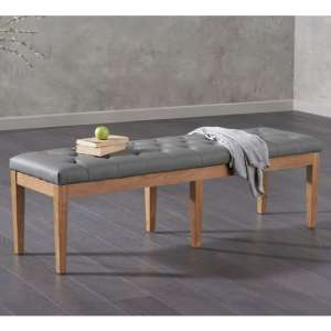 Absolutno Faux Leather Dining Bench In Grey