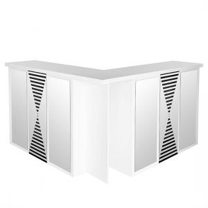 Acadia Mirrored Folding Bar Unit In White High Gloss