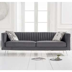 Achird Velvet 3 Seater Sofa In Grey