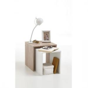 Acorn Wooden Side Table Set In Oak And White