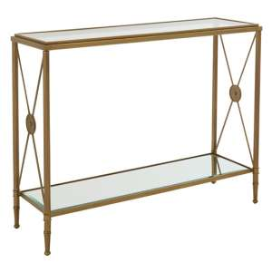 Acox Clear Mirrored Glass Console Table With Gold Legs