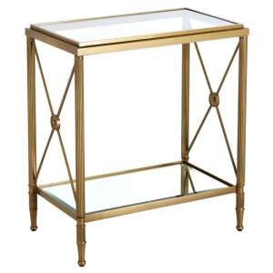 Acox Mirrored Glass Rectangular Side Table With Gold Legs