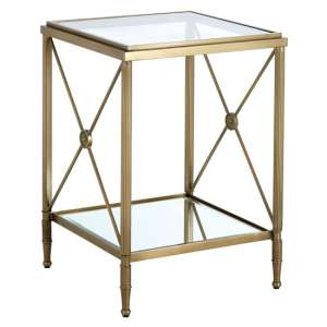 Acox Mirrored Glass Square Side Table With Gold Legs