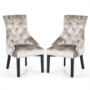 Acton Dining Chair In Crushed Velvet Mink In A Pair