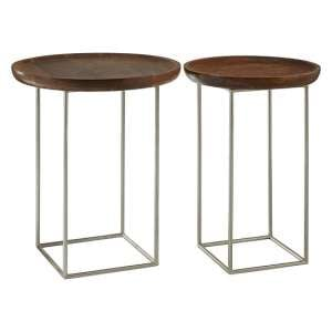 Acton Set of 2 Side Tables In Natural With Iron Frame