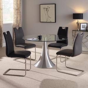 Adana Glass Dining Table Round In Clear With 4 Harley Chairs