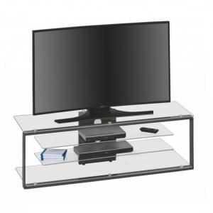 Adana TV Stand In Clear Glass With Anthracite Metal Frame