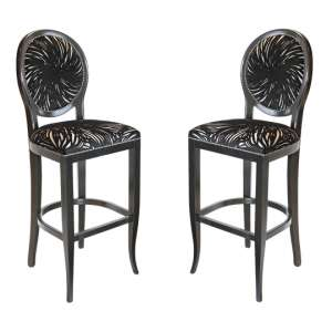 Adelaide Black Fabric Bar Stool In Pair