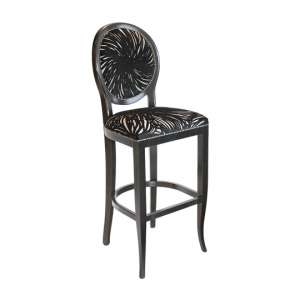 Adelaide Black Fabric Bar Stool With Wooden Frame