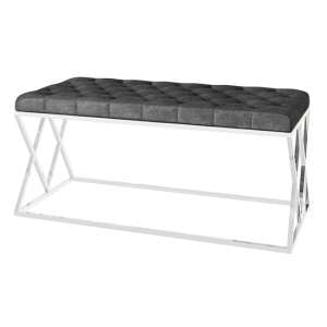 Adele Velvet Fabric Upholstered Dining Bench In Dark Grey