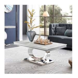 Adele Marble Coffee Table In White With Polished Metal Legs