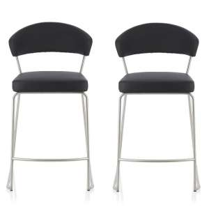 Adelina Contemporary Bar Stool In Black Faux Leather In A Pair