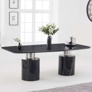 Adeline Marble Dining Table In Black High Gloss