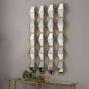 Adeliza Wall Mirror In Mettalic Gold Finish Iron Frame
