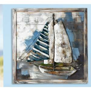 Admiral Picture Metal Wall Art In Brown And Blue