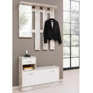 Harrison Hallway Shoe Storage In Fresco And White