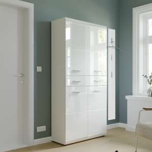 Adrian Shoe Storage Cupboard In White With High Gloss Fronts