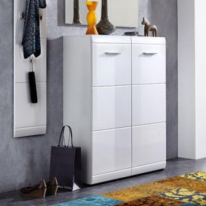 Adrian Wall Mount Shoe Cabinet In White With High Gloss Fronts